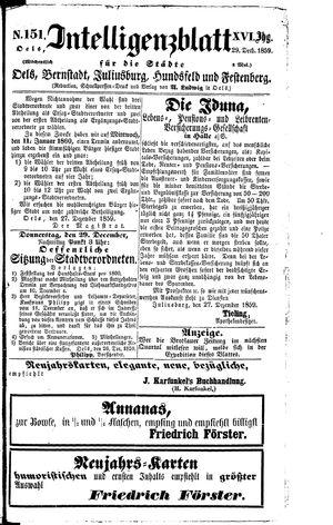 Intelligenzblatt für die Städte Oels, Bernstadt, Juliusburg, Hundsfeld und Festenberg vom 29.12.1859