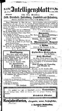 Intelligenzblatt für die Städte Oels, Bernstadt, Juliusburg, Hundsfeld und Festenberg vom 31.12.1859