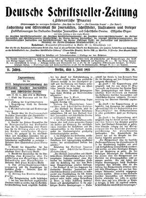 Deutsche Schriftsteller-Zeitung vom 01.06.1910