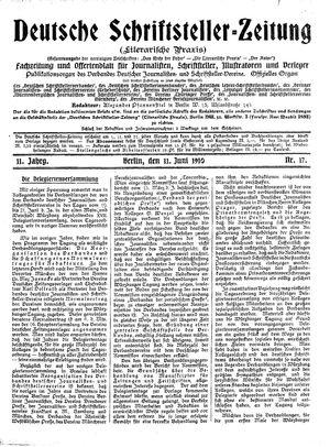 Deutsche Schriftsteller-Zeitung vom 11.06.1910
