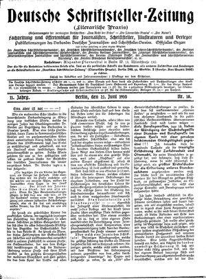 Deutsche Schriftsteller-Zeitung vom 21.06.1910