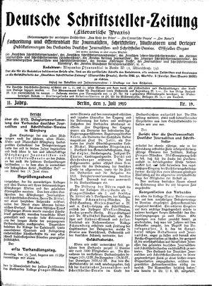 Deutsche Schriftsteller-Zeitung vom 01.07.1910