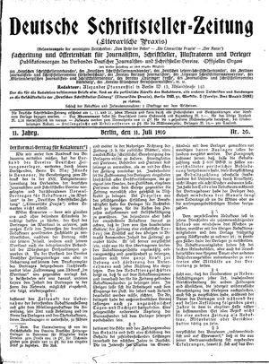 Deutsche Schriftsteller-Zeitung vom 11.07.1910