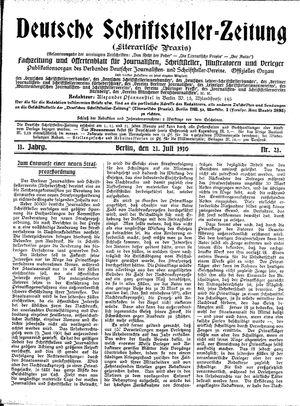 Deutsche Schriftsteller-Zeitung vom 21.07.1910