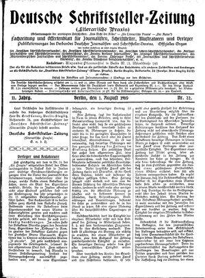 Deutsche Schriftsteller-Zeitung vom 01.08.1910
