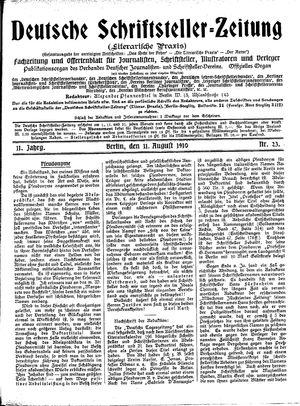 Deutsche Schriftsteller-Zeitung vom 11.08.1910