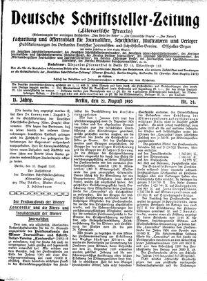 Deutsche Schriftsteller-Zeitung vom 21.08.1910