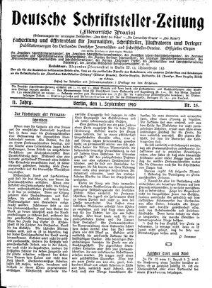 Deutsche Schriftsteller-Zeitung vom 01.09.1910