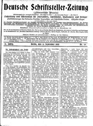 Deutsche Schriftsteller-Zeitung vom 11.09.1910