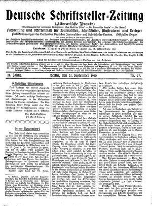 Deutsche Schriftsteller-Zeitung vom 21.09.1910
