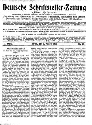 Deutsche Schriftsteller-Zeitung vom 08.10.1910