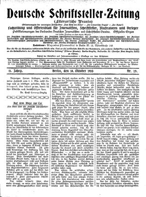 Deutsche Schriftsteller-Zeitung vom 18.10.1910