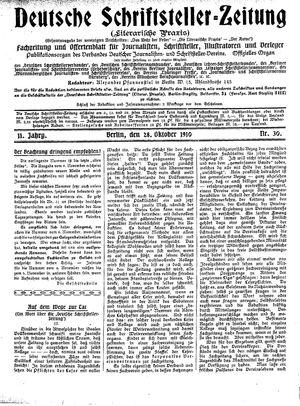 Deutsche Schriftsteller-Zeitung vom 28.10.1910