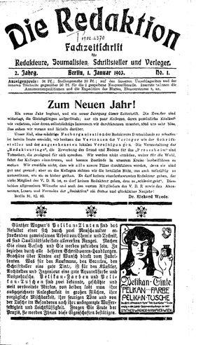 ˜Dieœ Redaktion vom 01.01.1903