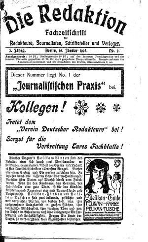 ˜Dieœ Redaktion vom 16.01.1903