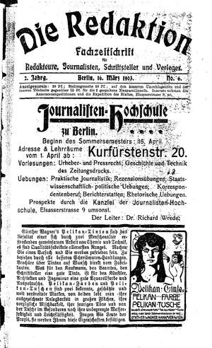 ˜Dieœ Redaktion vom 16.03.1903
