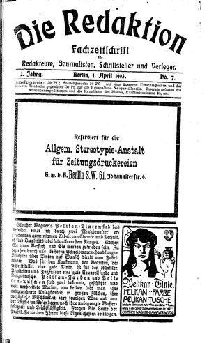 ˜Dieœ Redaktion vom 01.04.1903