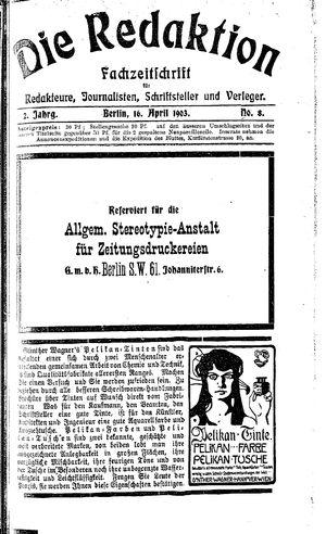 ˜Dieœ Redaktion vom 16.04.1903