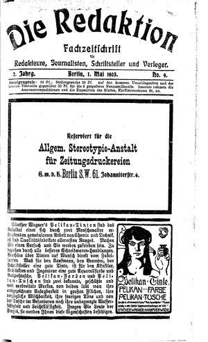 ˜Dieœ Redaktion vom 01.05.1903