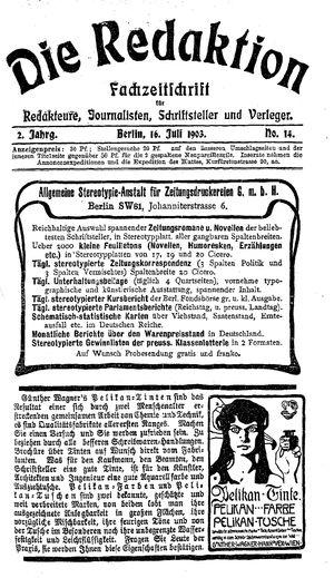 ˜Dieœ Redaktion on Jul 16, 1903