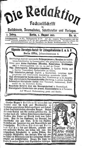 ˜Dieœ Redaktion vom 01.08.1903