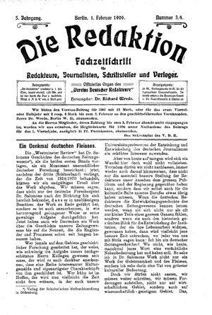 ˜Dieœ Redaktion on Feb 1, 1906