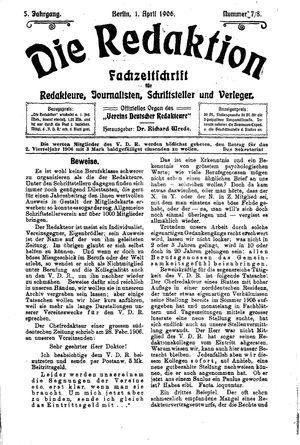 ˜Dieœ Redaktion vom 01.04.1906