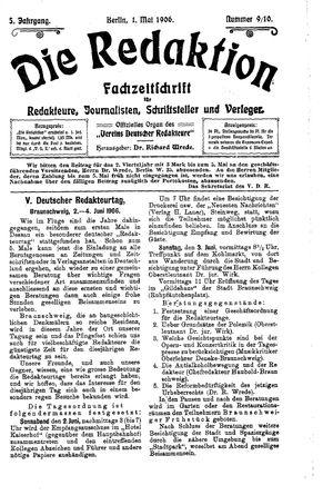 ˜Dieœ Redaktion vom 01.05.1906