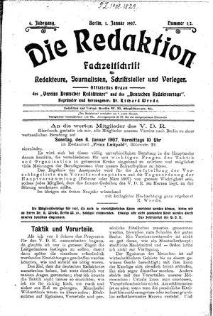 ˜Dieœ Redaktion vom 01.01.1907