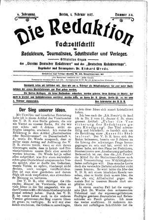 ˜Dieœ Redaktion vom 01.02.1907