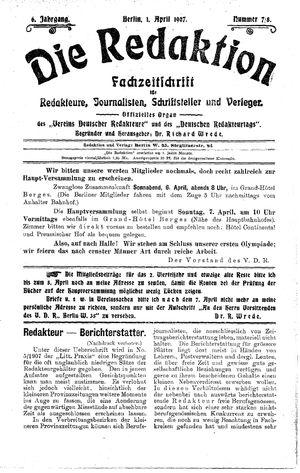 ˜Dieœ Redaktion vom 01.04.1907