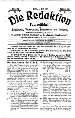˜Dieœ Redaktion vom 01.05.1907