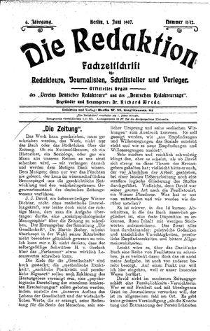 ˜Dieœ Redaktion vom 01.06.1907