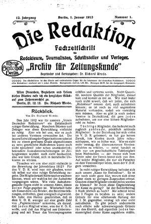 ˜Dieœ Redaktion vom 01.01.1913