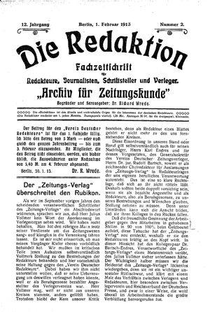 ˜Dieœ Redaktion vom 01.02.1913
