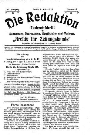 ˜Dieœ Redaktion vom 01.03.1913