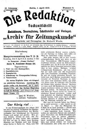 ˜Dieœ Redaktion vom 01.04.1913