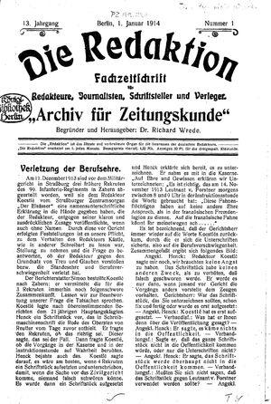 ˜Dieœ Redaktion vom 01.01.1914