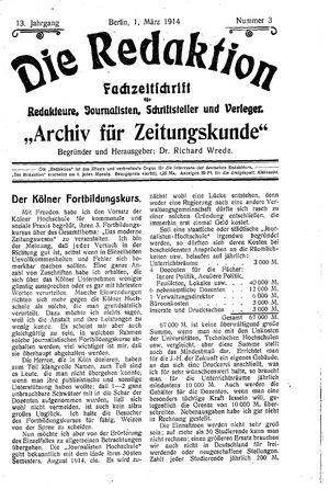 ˜Dieœ Redaktion vom 01.03.1914
