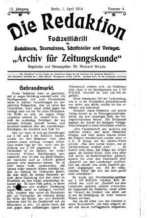˜Dieœ Redaktion vom 01.04.1914
