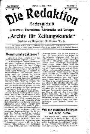 ˜Dieœ Redaktion vom 01.05.1914