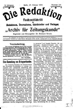 ˜Dieœ Redaktion vom 27.02.1915