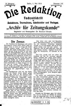 ˜Dieœ Redaktion vom 01.05.1915