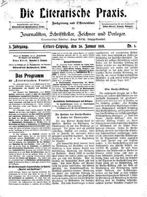 ˜Dieœ literarische Praxis vom 26.01.1901