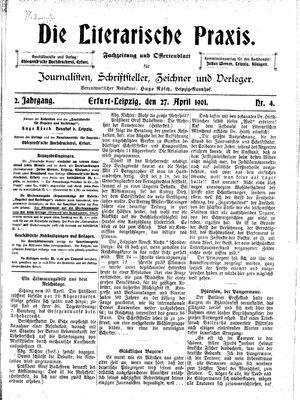 ˜Dieœ literarische Praxis vom 27.04.1901