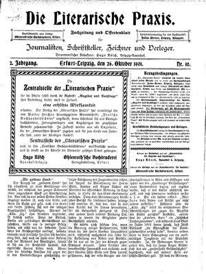 ˜Dieœ literarische Praxis vom 26.10.1901