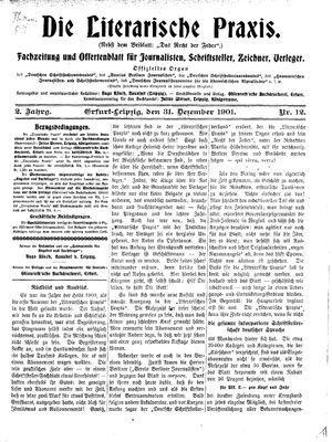 ˜Dieœ literarische Praxis vom 31.12.1901