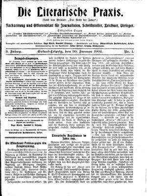 ˜Dieœ literarische Praxis vom 30.01.1902