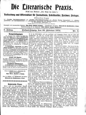 ˜Dieœ literarische Praxis vom 28.02.1902