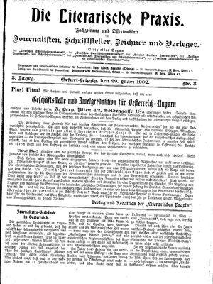 ˜Dieœ literarische Praxis vom 29.03.1902